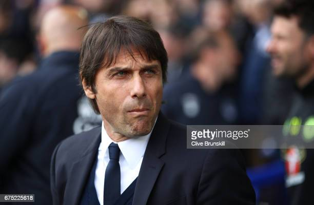 Chelsea manager Antonio Conte before the Premier League match between Everton and Chelsea at Goodison Park on April 30 2017 in Liverpool England