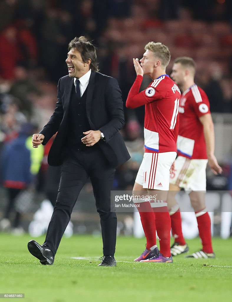 Chelsea manager Antonio Conte celebrates during the Premier League match between Middlesbrough and Chelsea at Riverside Stadium on November 20, 2016 in Middlesbrough, England.