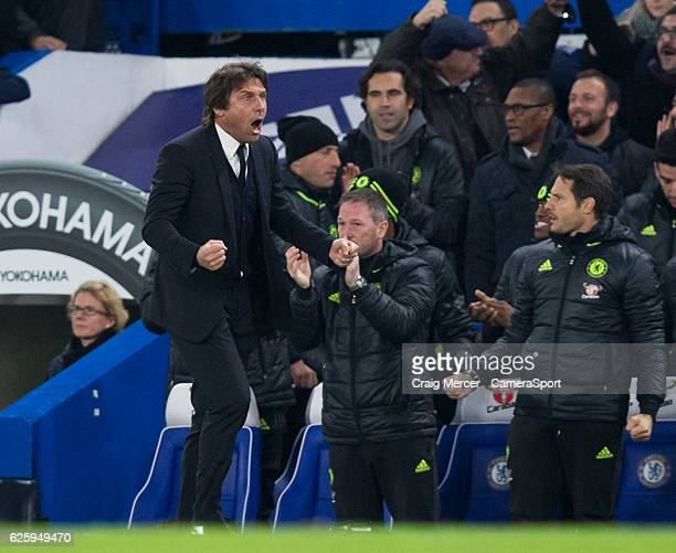 Chelsea manager Antonio Conte celebrates his side's equalising goal to make the score 11 during the Premier League match between Chelsea and...