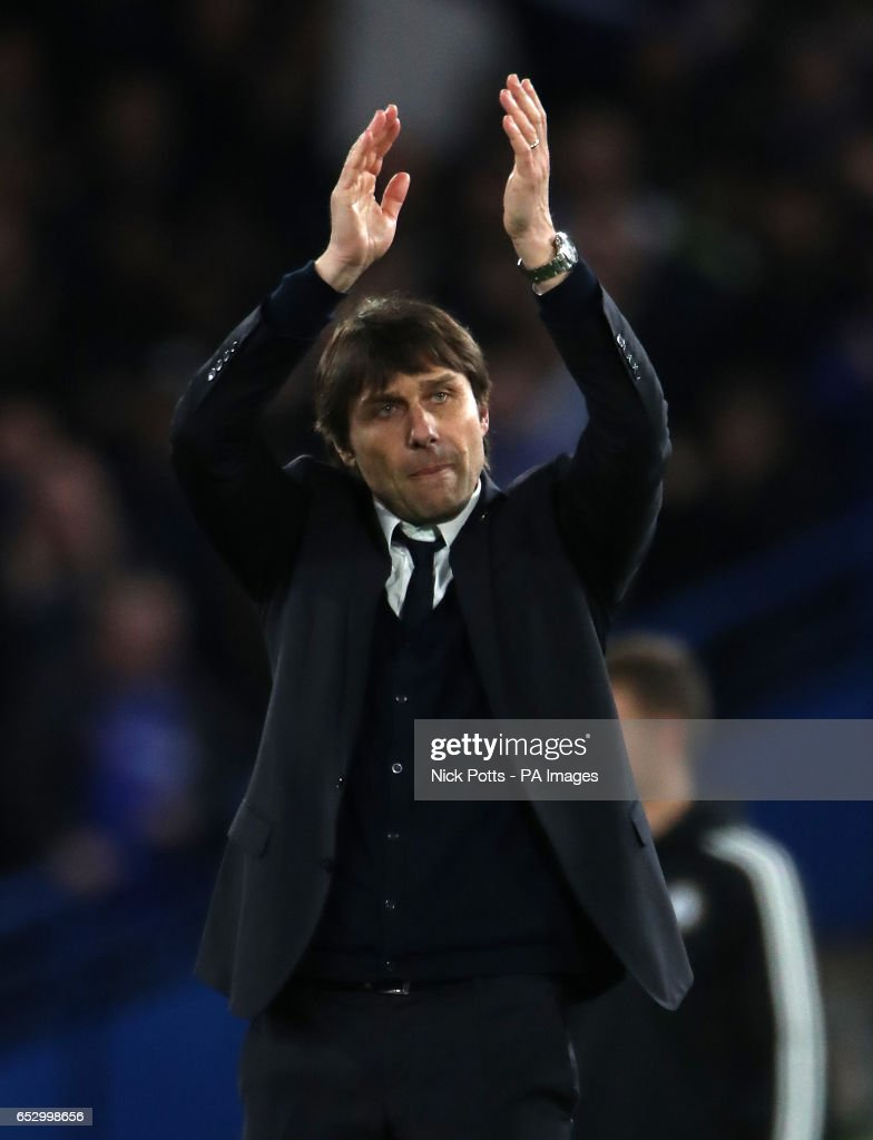 Chelsea manager Antonio Conte celebrates victory during the Emirates FA Cup, Quarter Final match at Stamford Bridge, London.