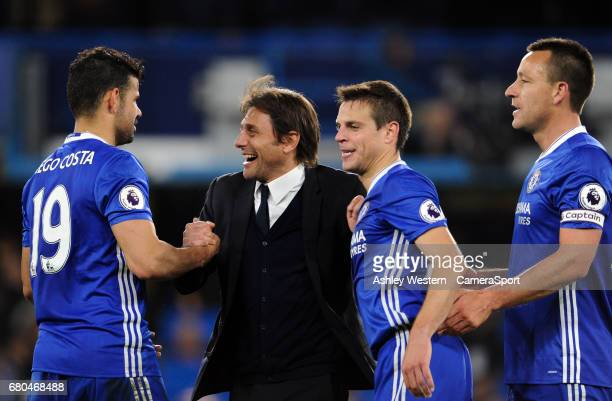 Chelsea manager Antonio Conte celebrates with Diego Costa after the Premier League match between Chelsea and Middlesbrough at Stamford Bridge on May...