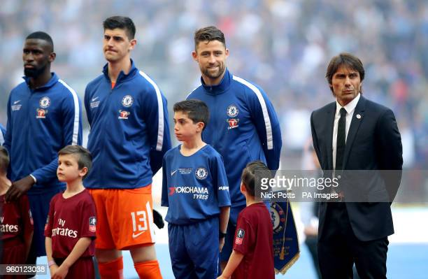 Chelsea manager Antonio Conte Chelsea's Gary Cahill Chelsea goalkeeper Thibaut Courtois and Antonio Rudiger before the Emirates FA Cup Final at...