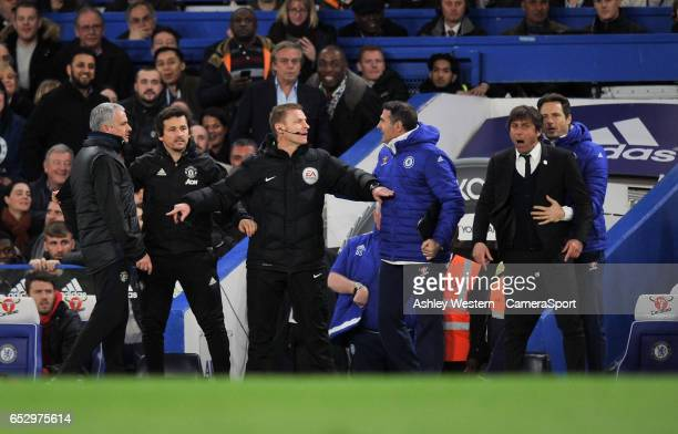 Chelsea manager Antonio Conte clashes with Manchester United manager Jose Mourinho during the Emirates FA Cup QuarterFinal match between Chelsea and...