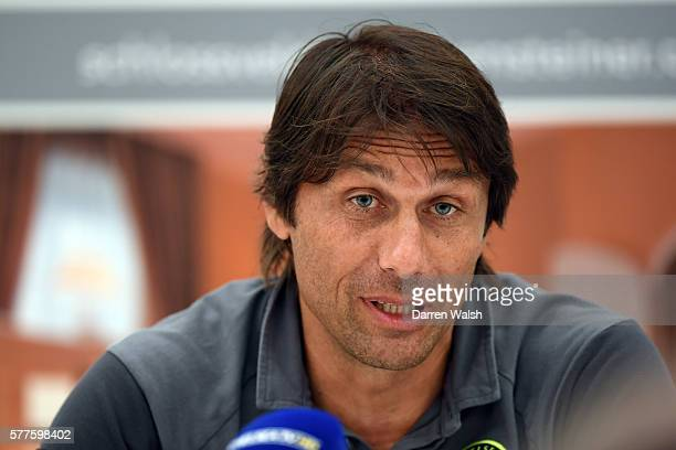 Chelsea manager Antonio Conte during a press conference at Falkensteiner Schlosshotel on July 19 2016 in Velden Austria