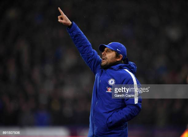 Chelsea manager Antonio Conte during the Premier League match between Huddersfield Town and Chelsea at John Smith's Stadium on December 12 2017 in...