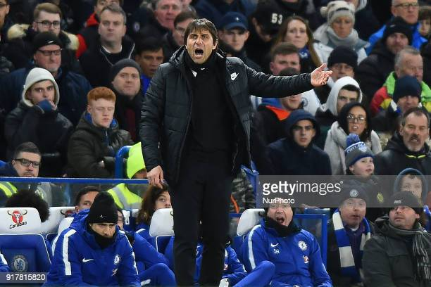 Chelsea manager Antonio Conte during the Premier League match between Chelsea and West Bromwich Albion at Stamford Bridge London England on 12 Jan...