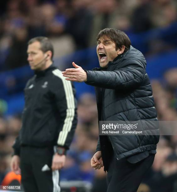 Chelsea manager Antonio Conte during the UEFA Champions League Round of 16 First Leg match between Chelsea FC and FC Barcelona at Stamford Bridge on...