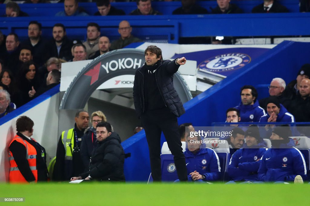 Chelsea manager Antonio Conte gestures from the touchline during the Carabao Cup Semi-Final first leg match between Chelsea and Arsenal at Stamford Bridge on January 10, 2018 in London, England.