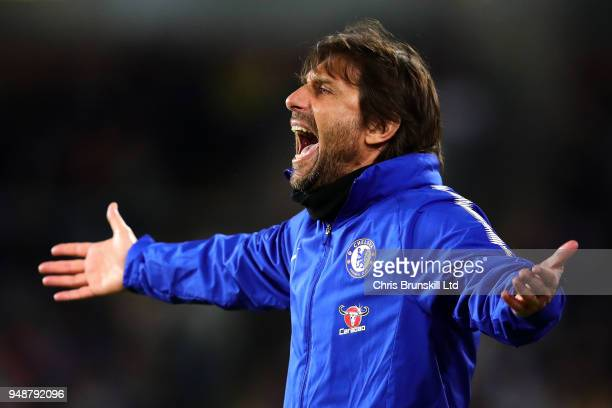 Chelsea manager Antonio Conte gestures from the touchline during the Premier League match between Burnley and Chelsea at Turf Moor on April 19 2018...