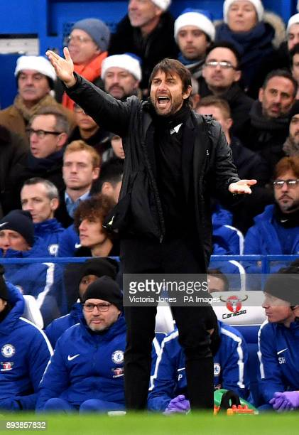Chelsea manager Antonio Conte gestures on the touchline during the Premier League match at Stamford Bridge London