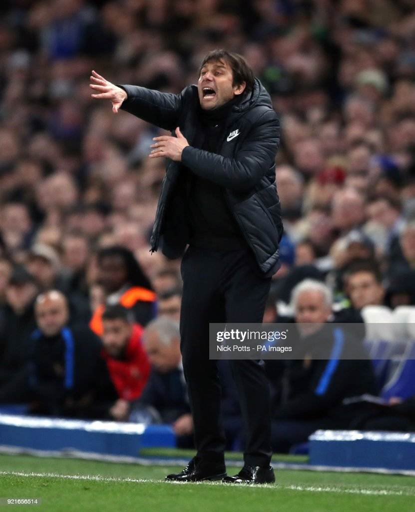 Chelsea manager Antonio Conte gestures on the touchline during the UEFA Champions League round of sixteen, first leg match at Stamford Bridge, London.
