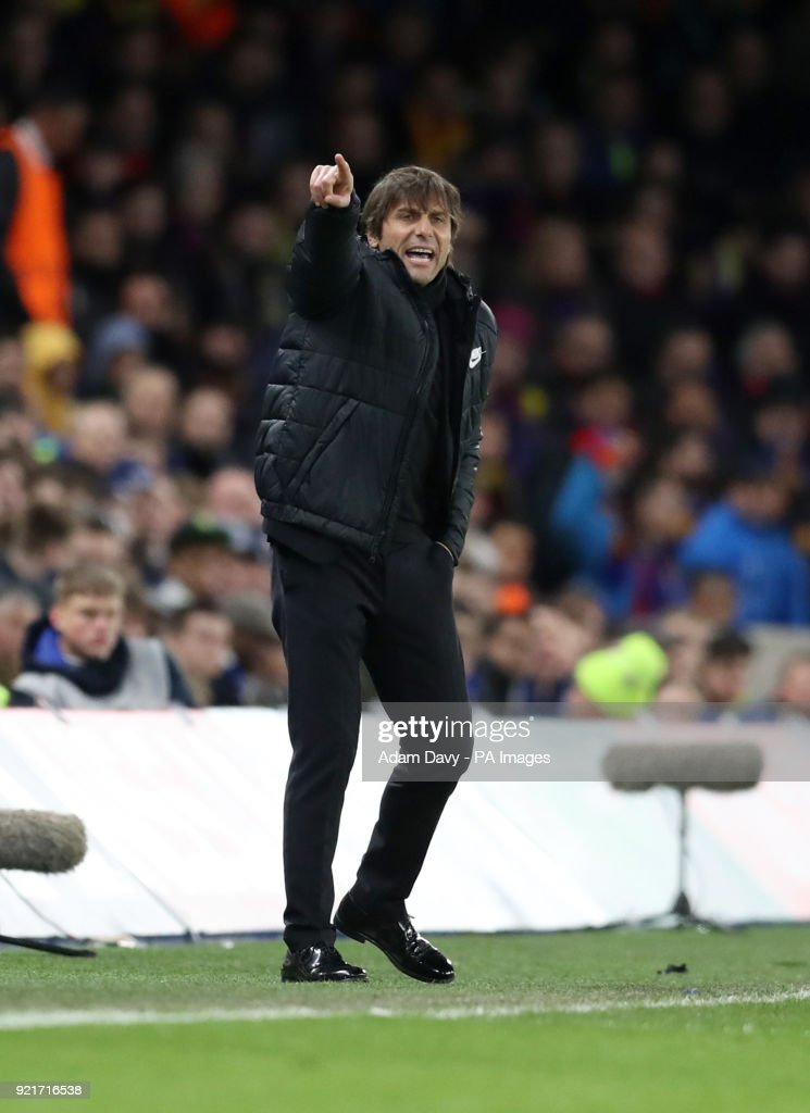 Chelsea manager Antonio Conte gestures on the touchline during the UEFA Champions League round of sixteen, first leg match at Stamford Bridge, London. PRESS ASSOCIATION Photo. Picture date: Tuesday February 20, 2018. See PA story SOCCER Chelsea. Photo credit should read: Adam Davy/PA Wire