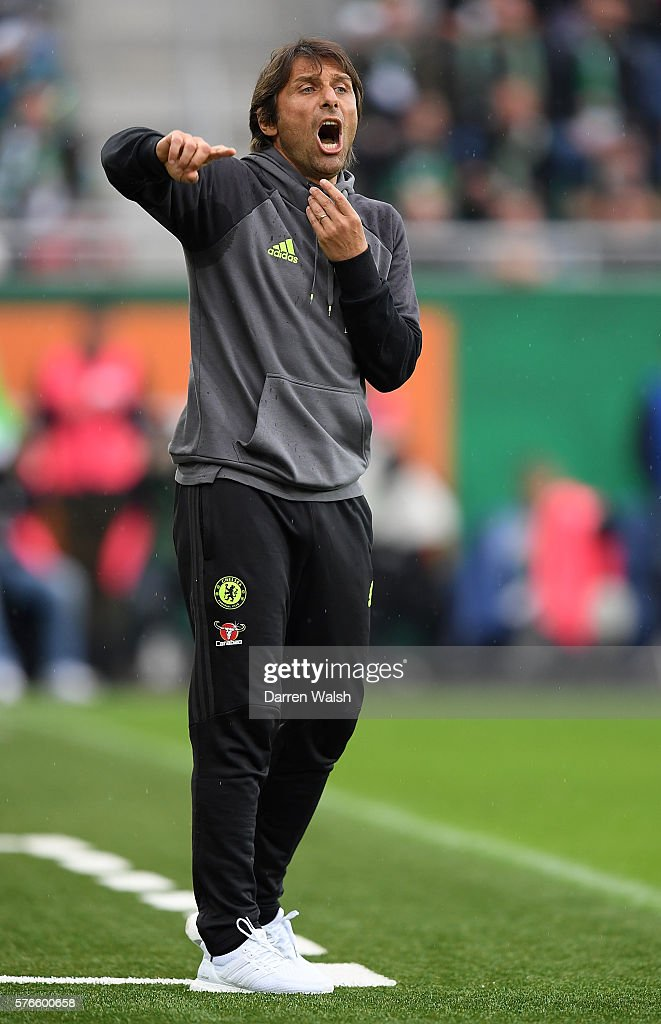 Chelsea manager Antonio Conte gives instructions during a friendly match between SK Rapid Vienna and Chelsea on July 16, 2016 in Vienna, Austria.