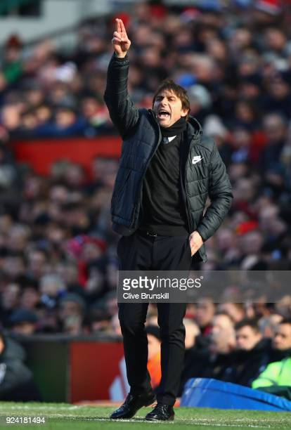 Chelsea manager Antonio Conte gives instructions to his team during the Premier League match between Manchester United and Chelsea at Old Trafford on...