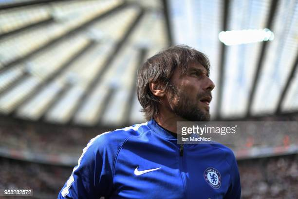 Chelsea manager Antonio Conte is seen during the Premier League match between Newcastle United and Chelsea at St James Park on May 13 2018 in...