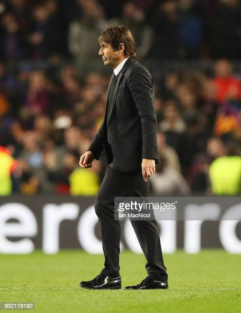 Chelsea manager Antonio Conte is seen during the UEFA Champions League Round of 16 Second Leg match FC Barcelona and Chelsea FC at Camp Nou on March...