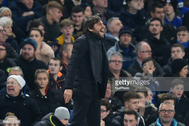 Chelsea Manager Antonio Conte is vocal during the Carabao Cup Quarter Final match between Chelsea and AFC Bournemouth at Stamford Bridge London...