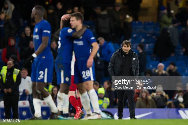 Chelsea manager Antonio Conte looks dejected after the final whistle despite his side's 30 victory during the Premier League match between Chelsea...