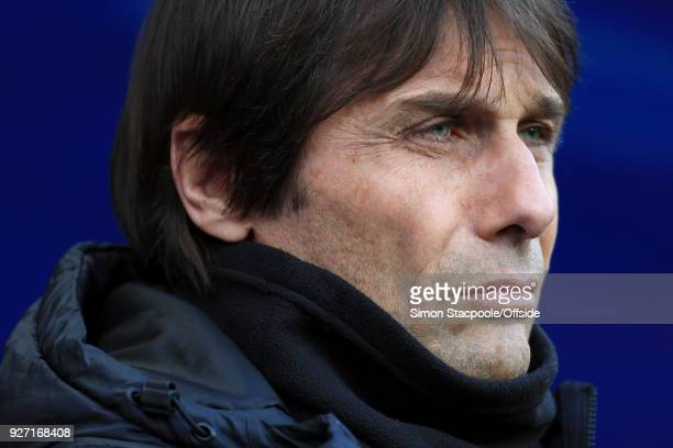 Chelsea manager Antonio Conte looks on before the Premier League match between Manchester City and Chelsea at the Etihad Stadium on March 4 2018 in...