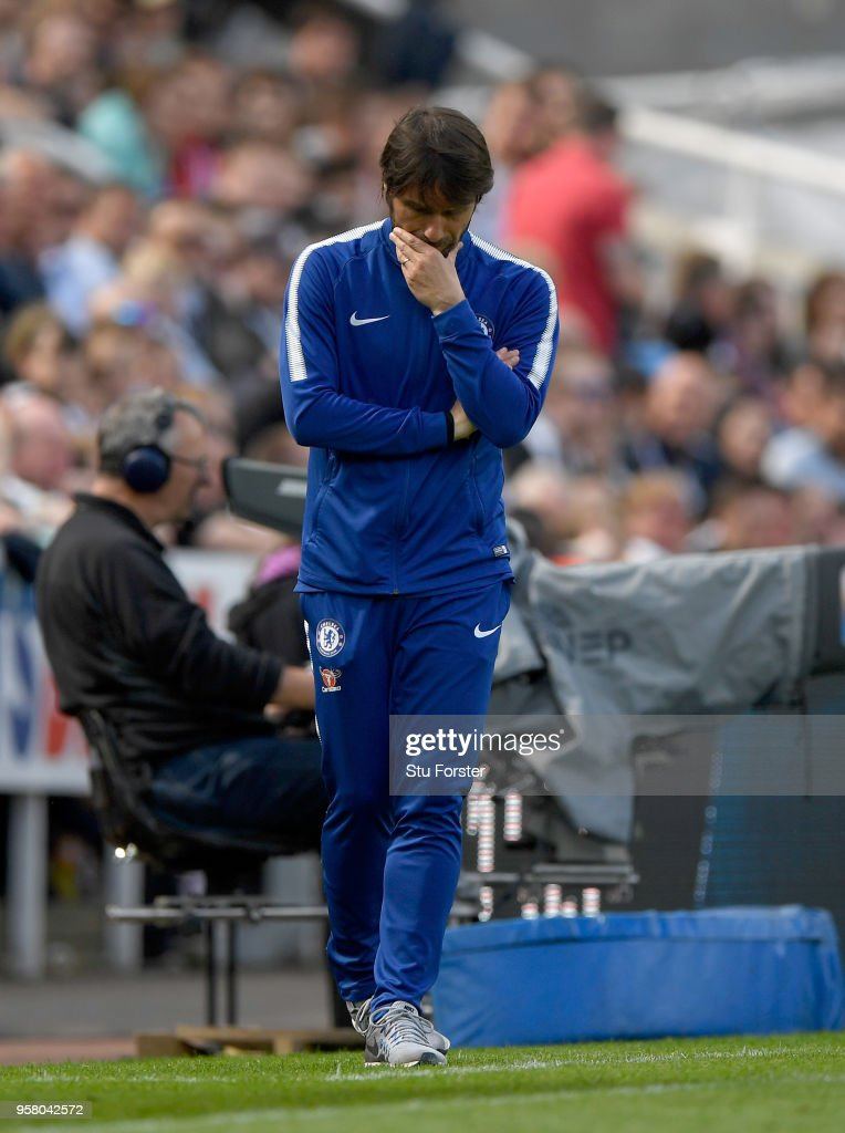 Chelsea manager Antonio Conte looks on during the Premier League match between Newcastle United and Chelsea at St. James Park on May 13, 2018 in Newcastle upon Tyne, England.