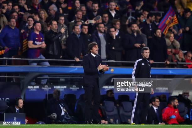 Chelsea manager Antonio Conte looks on during the UEFA Champions League Round of 16 Second Leg match between FC Barcelona and Chelsea FC at Camp Nou...