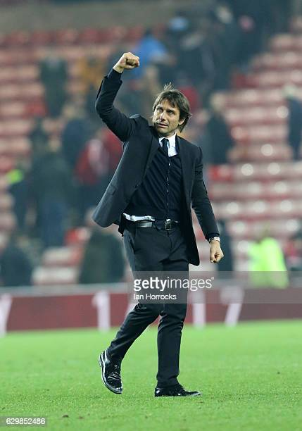 Chelsea manager Antonio Conte on the final whistle during the Premier League match between Sunderland and Chelsea at Stadium of Light on December 14...
