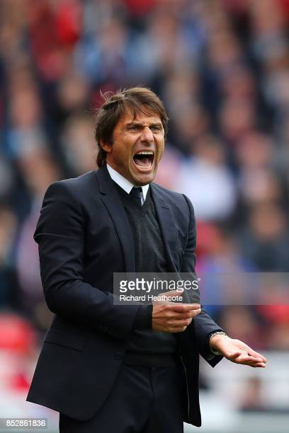Chelsea Manager Antonio Conte reacts during the Premier League match between Stoke City and Chelsea at Bet365 Stadium on September 23 2017 in Stoke...