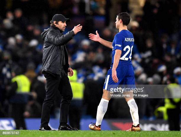 Chelsea manager Antonio Conte shakes hands with Chelsea's Cesar Azpilicueta after the final whistle during the Premier League match at Stamford...