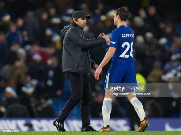 Chelsea manager Antonio Conte shakes hands with Chelsea's Cesar Azpilicueta at full time during the Premier League match between Chelsea and...