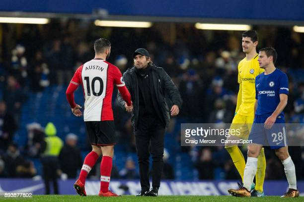 Chelsea manager Antonio Conte shakes hands with Southampton's Charlie Austin at full time during the Premier League match between Chelsea and...