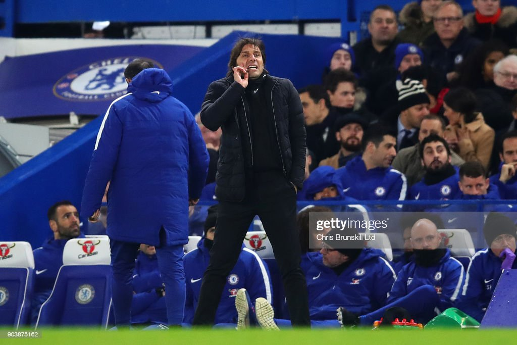 Chelsea manager Antonio Conte shouts from the touchline during the Carabao Cup Semi-Final first leg match between Chelsea and Arsenal at Stamford Bridge on January 10, 2018 in London, England.