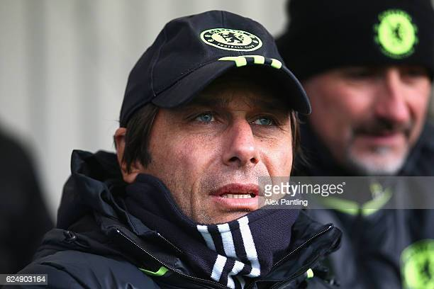 Chelsea Manager Antonio Conte watches on during the Premier League 2 match between Chelsea and Southampton at Chelsea Training Ground on November 21...