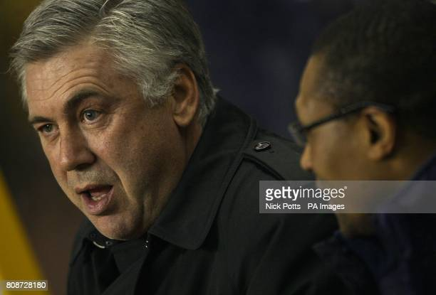 Chelsea manager Carlo Ancelotti and Assistant manager Michael Emenalo prior to kickoff