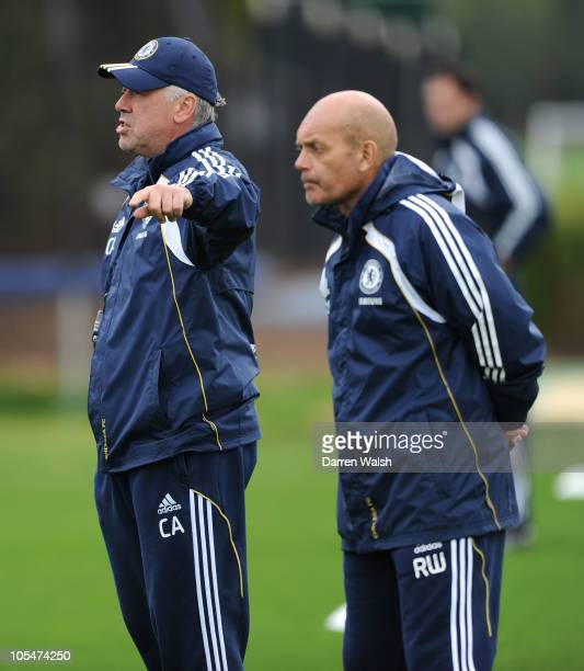 Chelsea manager Carlo Ancelotti and Assistant manager Ray Wilkins during a training session at the Cobham Training ground on October 15 2010 in...