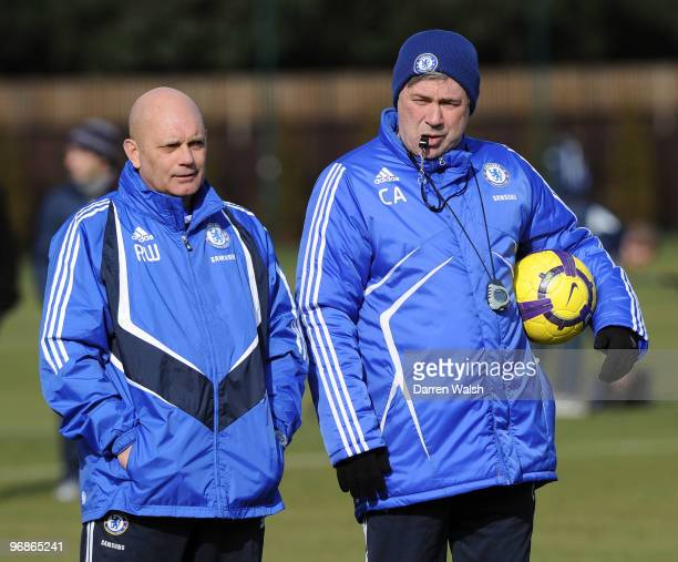 Chelsea manager Carlo Ancelotti and Ray Wilkins during a training session at Cobham Training ground on February 19 2010 in Cobham England