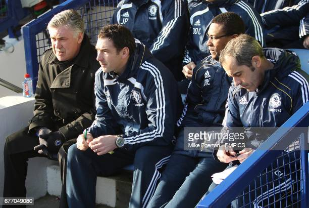 Chelsea manager Carlo Ancelotti Assistant First Team Coach Paul Clement Assistant Manager Michael Emenalo and Goalkeeper Coach Christophe Lollichon...