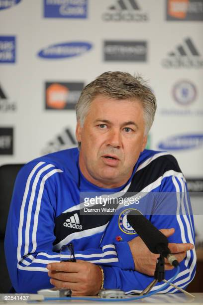 Chelsea manager Carlo Ancelotti attends a press conference at Cobham Training ground on October 30 2009 in Cobham England