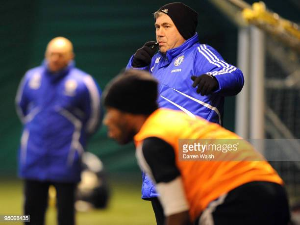 Chelsea manager Carlo Ancelotti during a indoor training session at Cobham training ground on December 23, 2009 in Cobham, England.