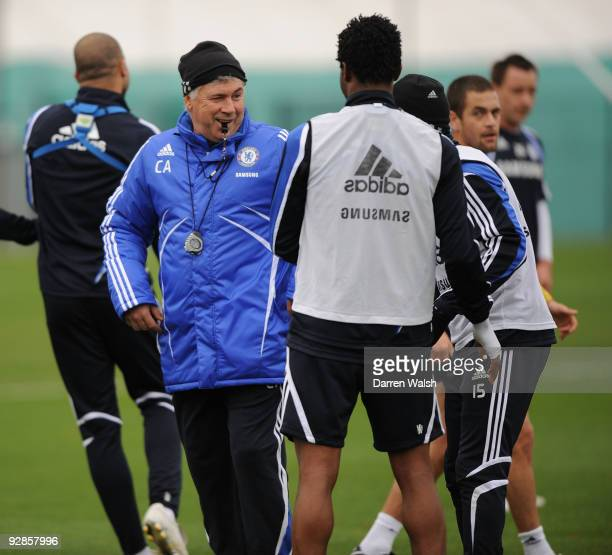 Chelsea manager Carlo Ancelotti during a training session at Cobham training ground on November 6, 2009 in Cobham, England.