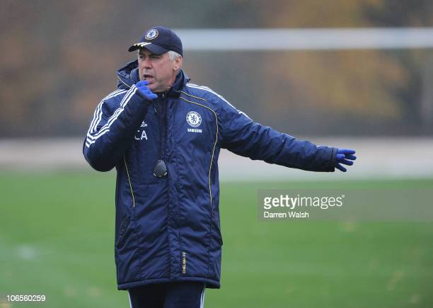 Chelsea manager Carlo Ancelotti during a training session at the Cobham training ground on November 5, 2010 in Cobham, England.