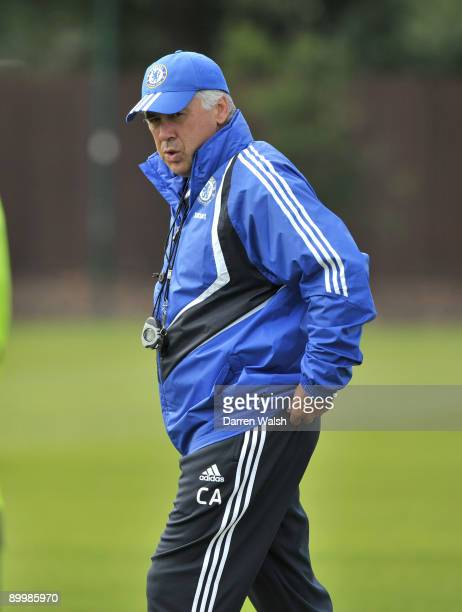 Chelsea Manager Carlo Ancelotti during a training session at the Cobham training ground on August 21 2009 in Cobham Surrey