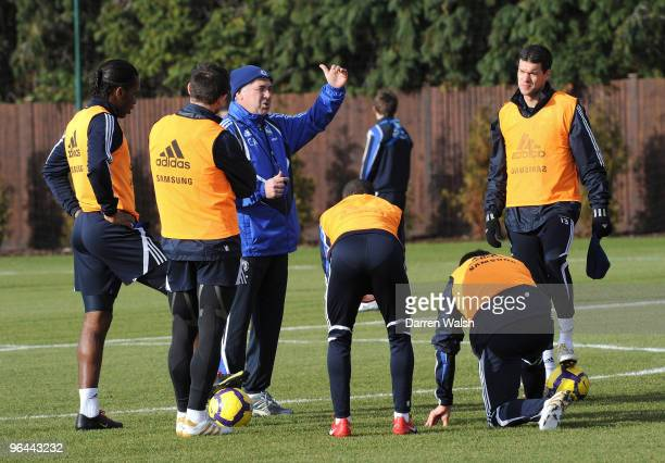 Chelsea manager Carlo Ancelotti during a training session at the Cobham Training Ground on February 5, 2010 in Cobham, United Kingdom.