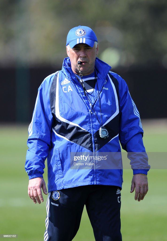 Chelsea manager Carlo Ancelotti during a training session at the Cobham Training Ground on April 23, 2010 in Cobham, England.