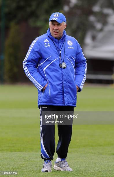Chelsea manager Carlo Ancelotti during a training session at the Cobham Training Ground on May 7, 2010 in Cobham, England.
