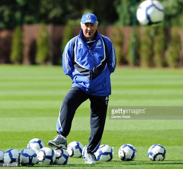 Chelsea manager Carlo Ancelotti during a training session the Cobham training ground on October 2 2009 in Cobham Surrey