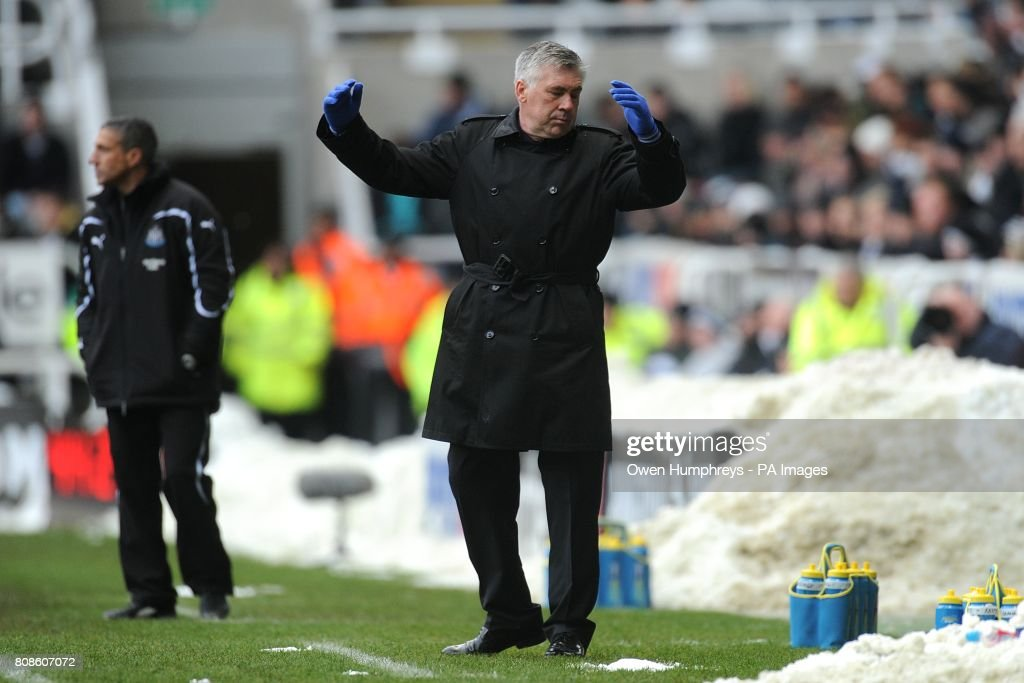 Chelsea manager Carlo Ancelotti gestures on the touchline.