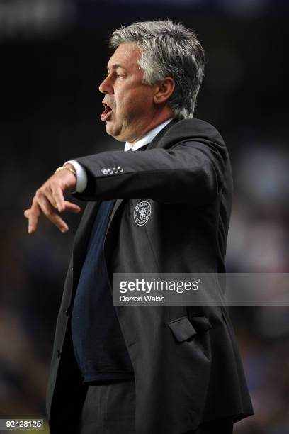 Chelsea manager Carlo Ancelotti is seen during the Carling Cup 4th Round match between Chelsea and Bolton Wanderers at Stamford Bridge on October 28...