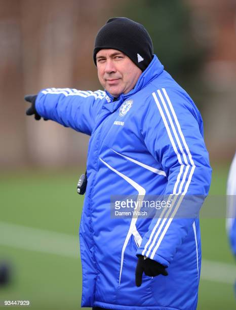 Chelsea Manager Carlo Ancelotti looks on during a training session at Chelsea Training Ground on November 27, 2009 in Cobham, England.