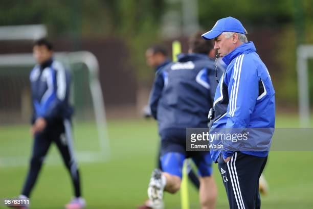 Chelsea manager Carlo Ancelotti looks on during a training session at the Cobham Training ground on April 30, 2010 in Cobham, England.
