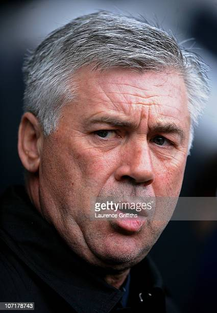 Chelsea Manager Carlo Ancelotti looks on prior to the Barclays Premier League match between Newcastle United and Chelsea at St James' Park on...
